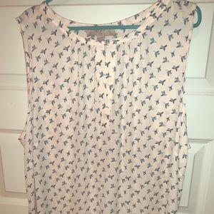 LOFT bird print sleeveless blouse